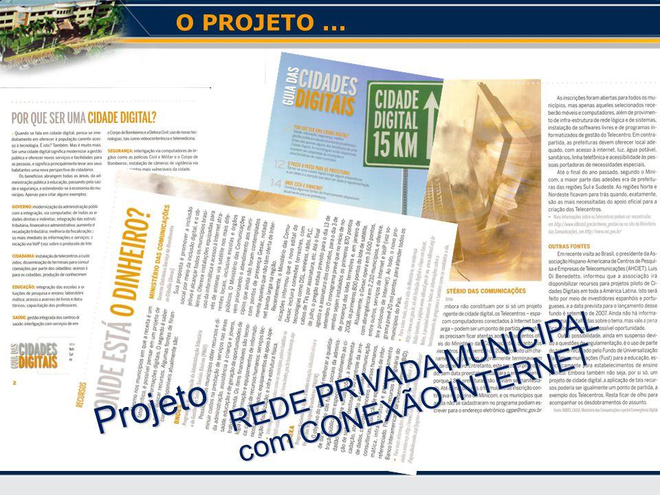 O PROJETO ... REDE PRIVADA MUNICIPAL com CONEXÃO INTERNET Projeto