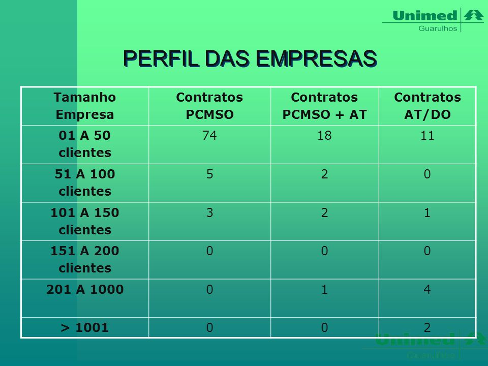 PERFIL DAS EMPRESAS Tamanho Empresa Contratos PCMSO PCMSO + AT AT/DO
