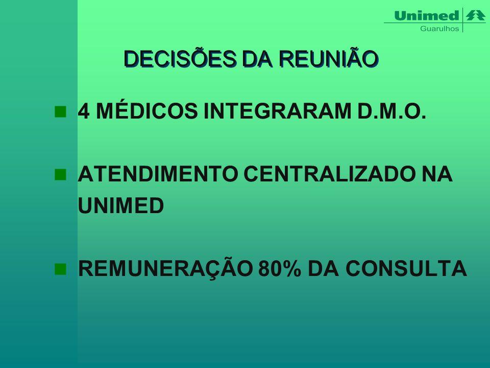 DECISÕES DA REUNIÃO 4 MÉDICOS INTEGRARAM D.M.O. ATENDIMENTO CENTRALIZADO NA.