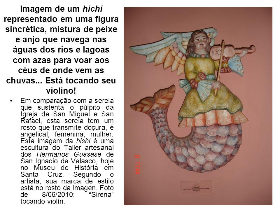 Imagem de um hichi representado em uma figura sincrética, mistura de peixe e anjo que navega nas águas dos rios e lagoas com azas para voar aos céus de onde vem as chuvas... Está tocando seu violino!