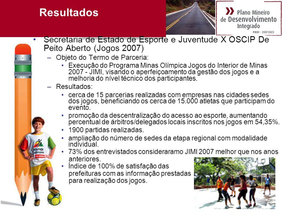 Resultados Secretaria de Estado de Esporte e Juventude X OSCIP De Peito Aberto (Jogos 2007) Objeto do Termo de Parceria:
