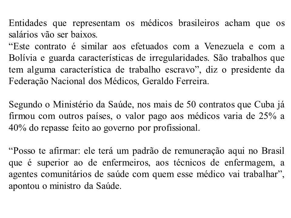 Entidades que representam os médicos brasileiros acham que os salários vão ser baixos.