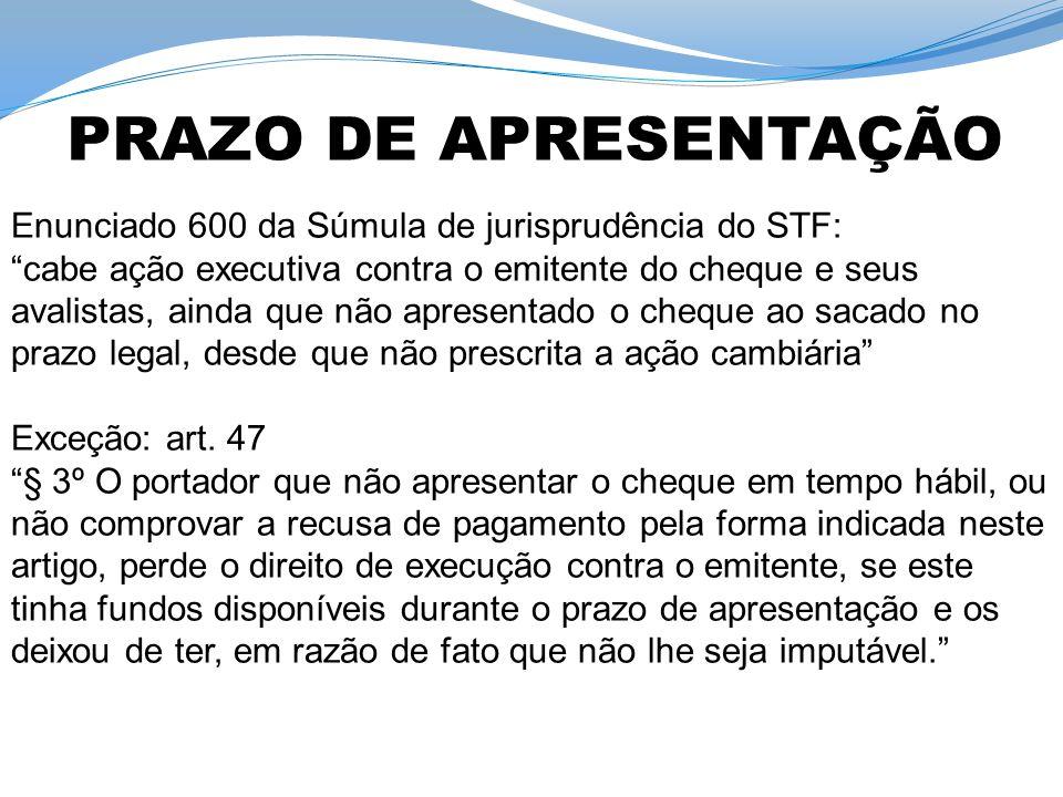 PRAZO DE APRESENTAÇÃO Enunciado 600 da Súmula de jurisprudência do STF: