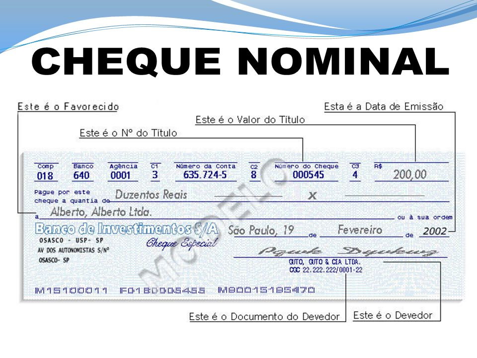 CHEQUE NOMINAL