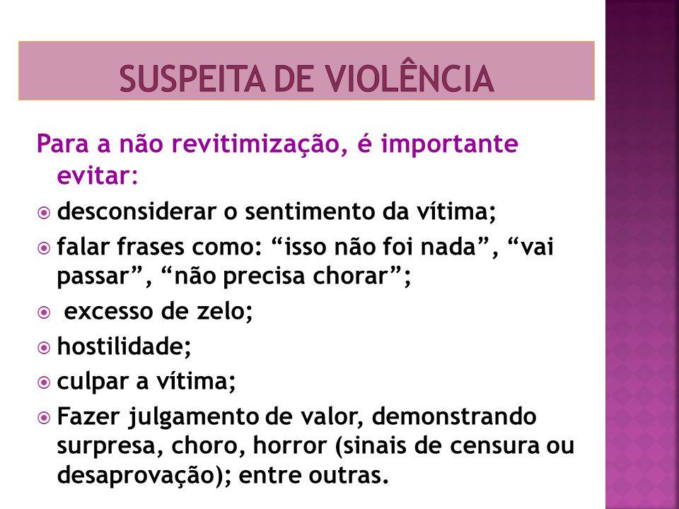 Suspeita de violência Para a não revitimização, é importante evitar: