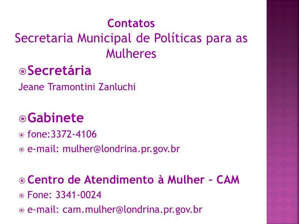 Contatos Secretaria Municipal de Políticas para as Mulheres
