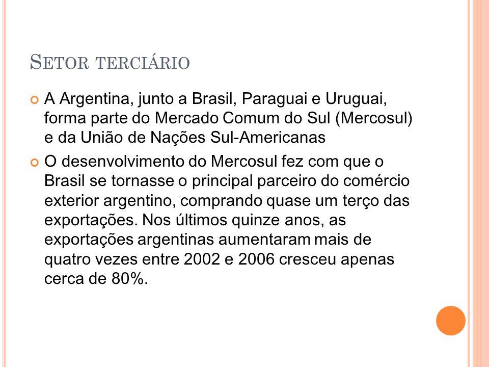 Setor terciário A Argentina, junto a Brasil, Paraguai e Uruguai, forma parte do Mercado Comum do Sul (Mercosul) e da União de Nações Sul-Americanas.