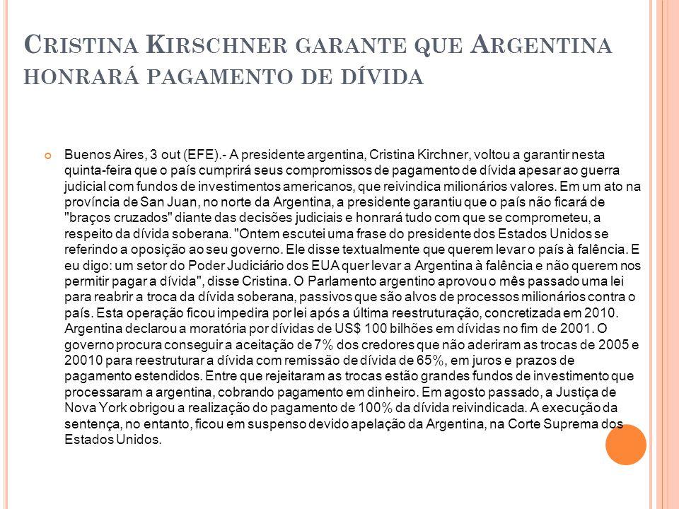 Cristina Kirschner garante que Argentina honrará pagamento de dívida
