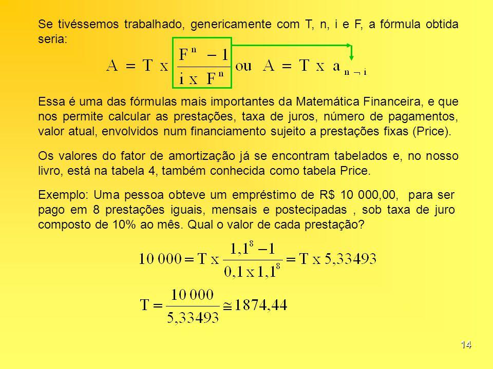 Se tivéssemos trabalhado, genericamente com T, n, i e F, a fórmula obtida seria: