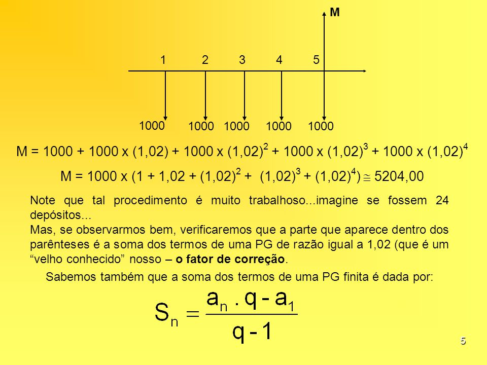 Sabemos também que a soma dos termos de uma PG finita é dada por: