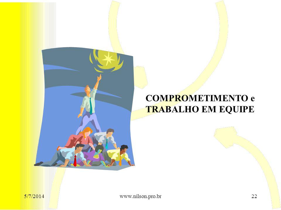 COMPROMETIMENTO e TRABALHO EM EQUIPE 02/04/2017 www.nilson.pro.br