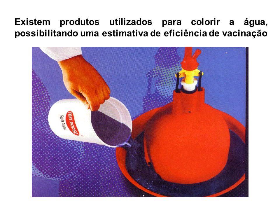 Existem produtos utilizados para colorir a água, possibilitando uma estimativa de eficiência de vacinação