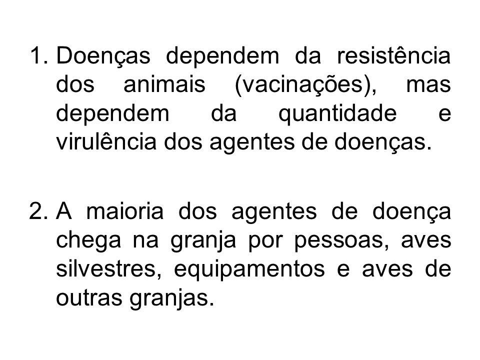 Doenças dependem da resistência dos animais (vacinações), mas dependem da quantidade e virulência dos agentes de doenças.
