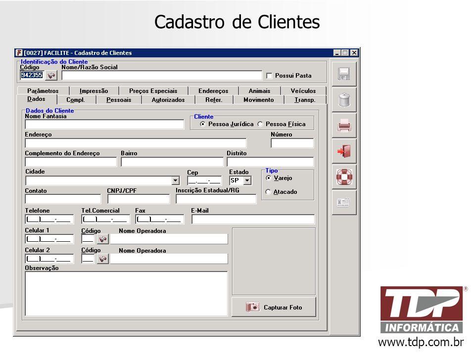 Cadastro de Clientes www.tdp.com.br