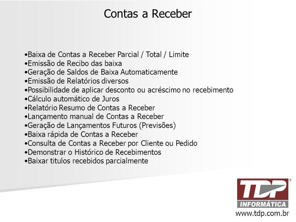 Contas a Receber Baixa de Contas a Receber Parcial / Total / Limite