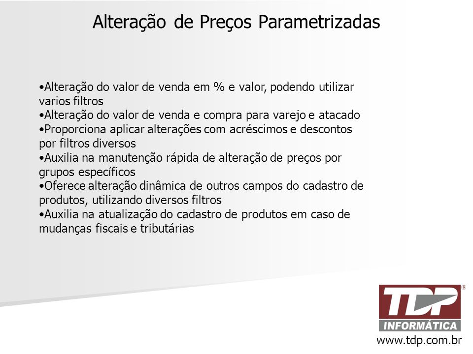 Alteração de Preços Parametrizadas