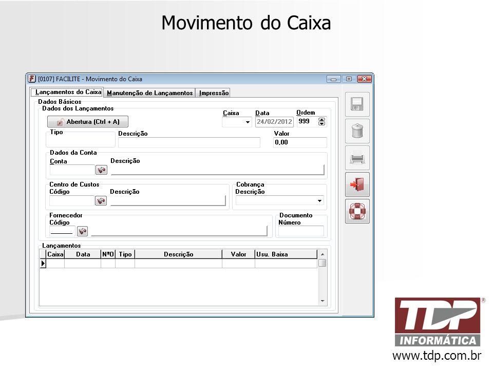 Movimento do Caixa www.tdp.com.br