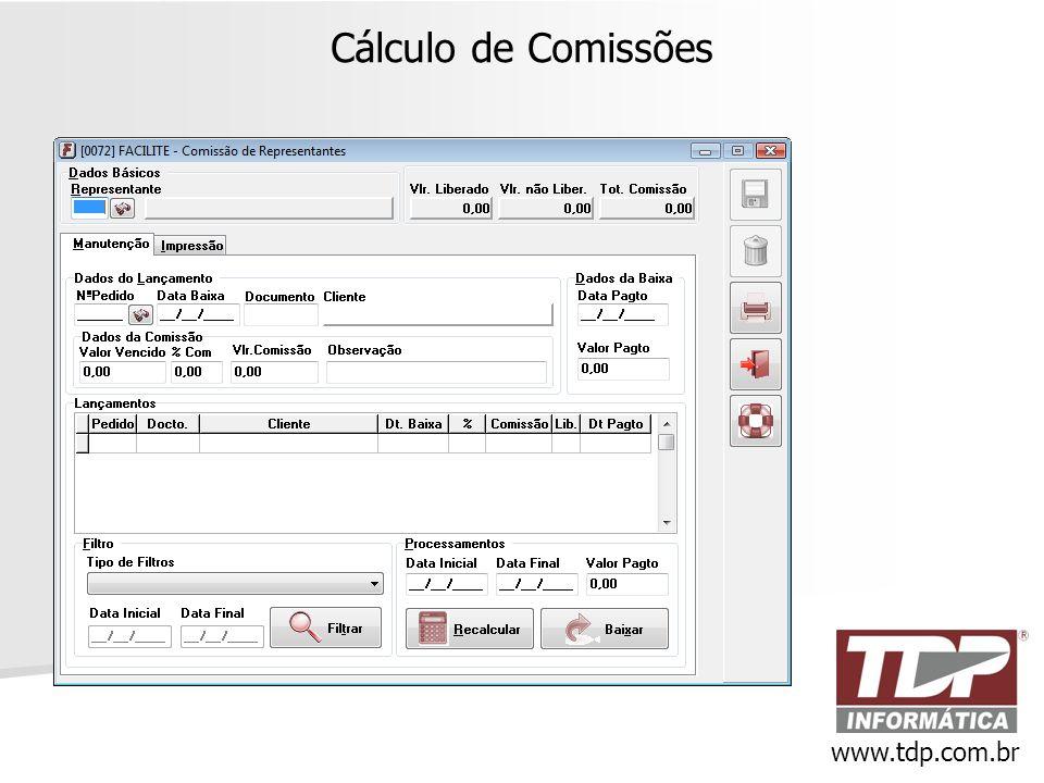 Cálculo de Comissões www.tdp.com.br