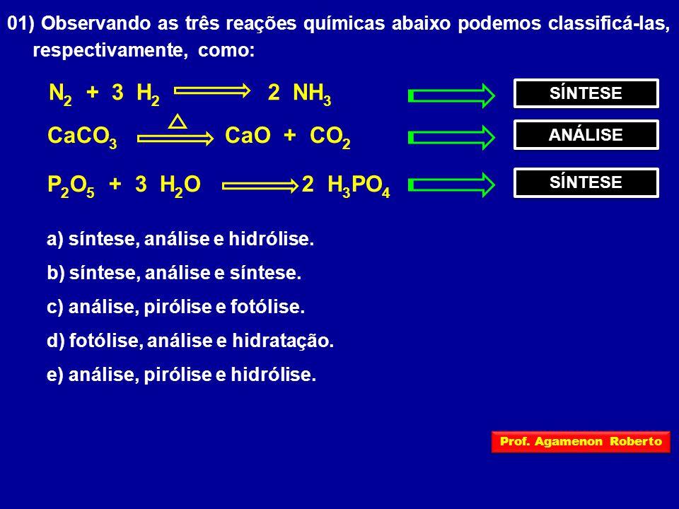 N2 + 3 H2 2 NH3 CaCO3 CaO + CO2 P2O5 + 3 H2O 2 H3PO4