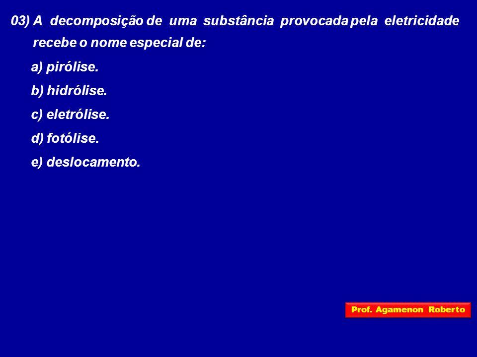 03) A decomposição de uma substância provocada pela eletricidade