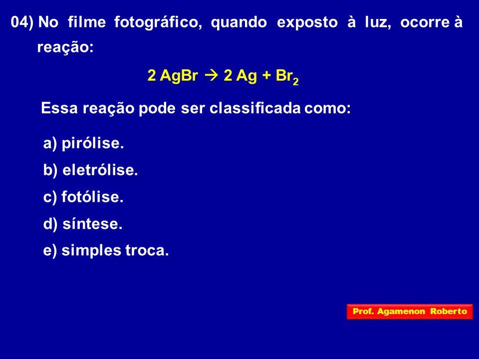 04) No filme fotográfico, quando exposto à luz, ocorre à reação: