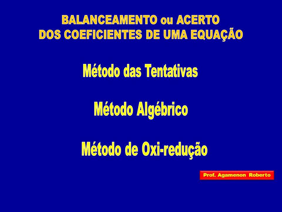 BALANCEAMENTO ou ACERTO DOS COEFICIENTES DE UMA EQUAÇÃO