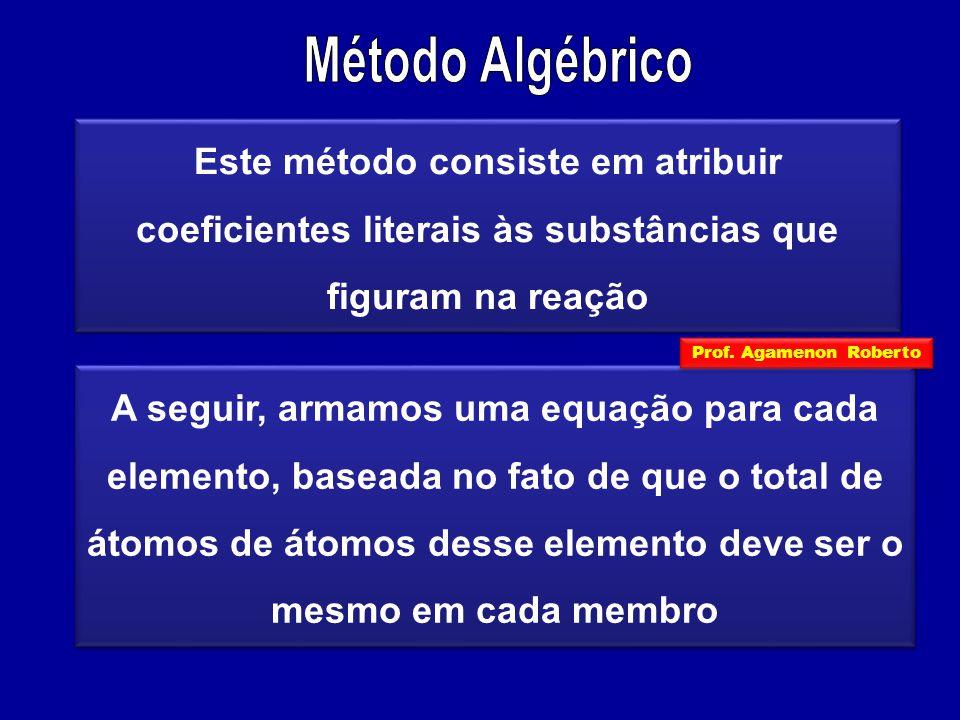 Método Algébrico Este método consiste em atribuir coeficientes literais às substâncias que figuram na reação.