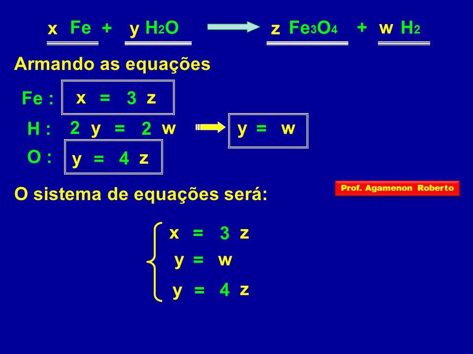 O sistema de equações será:
