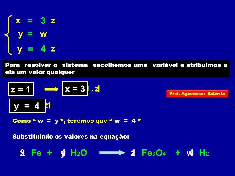 x = 3 z y = w y = 4 z z = 1 x x = 3 = 3 z y y = 4 = 4 z 3 x Fe + 4 y