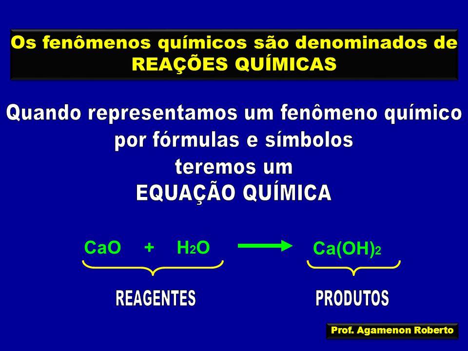 Os fenômenos químicos são denominados de REAÇÕES QUÍMICAS