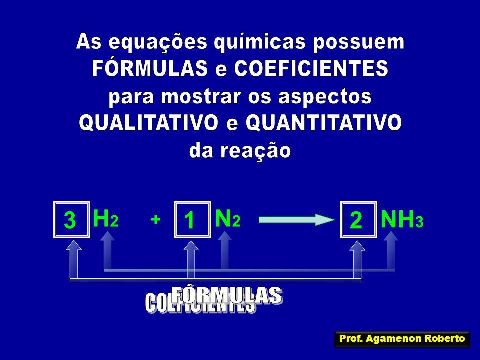 3 H2 N2 1 2 NH3 As equações químicas possuem FÓRMULAS e COEFICIENTES