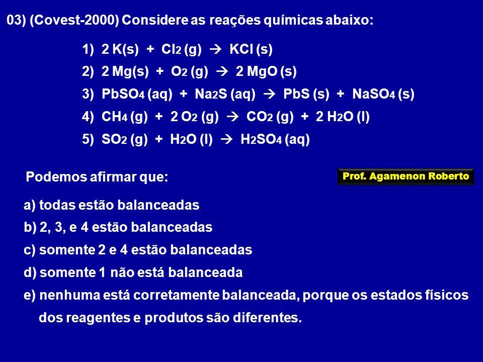 03) (Covest-2000) Considere as reações químicas abaixo: