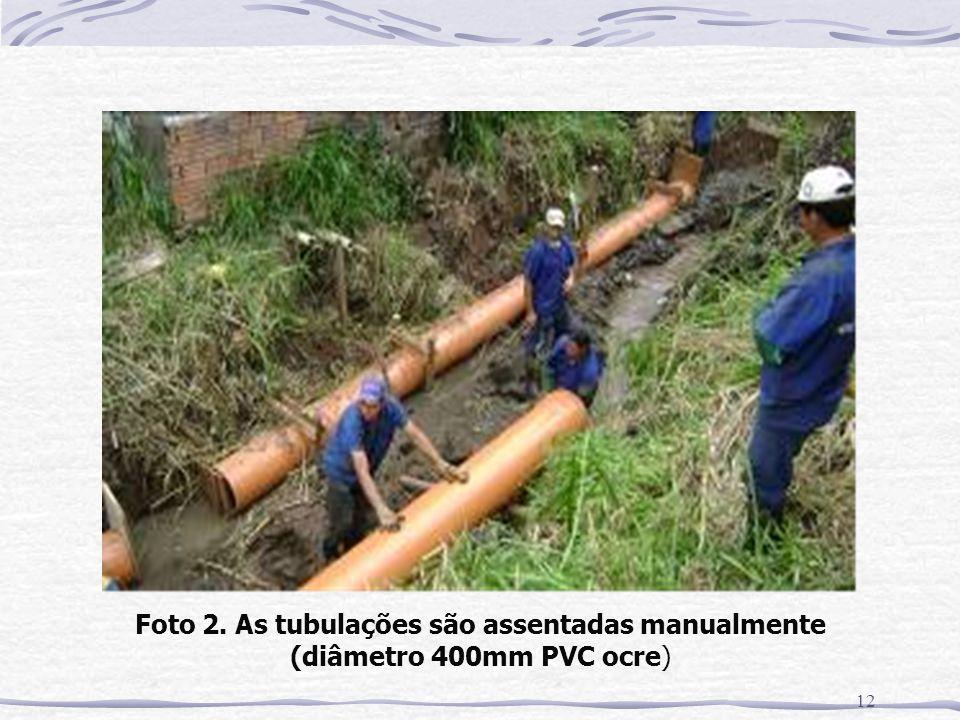 Foto 2. As tubulações são assentadas manualmente (diâmetro 400mm PVC ocre)