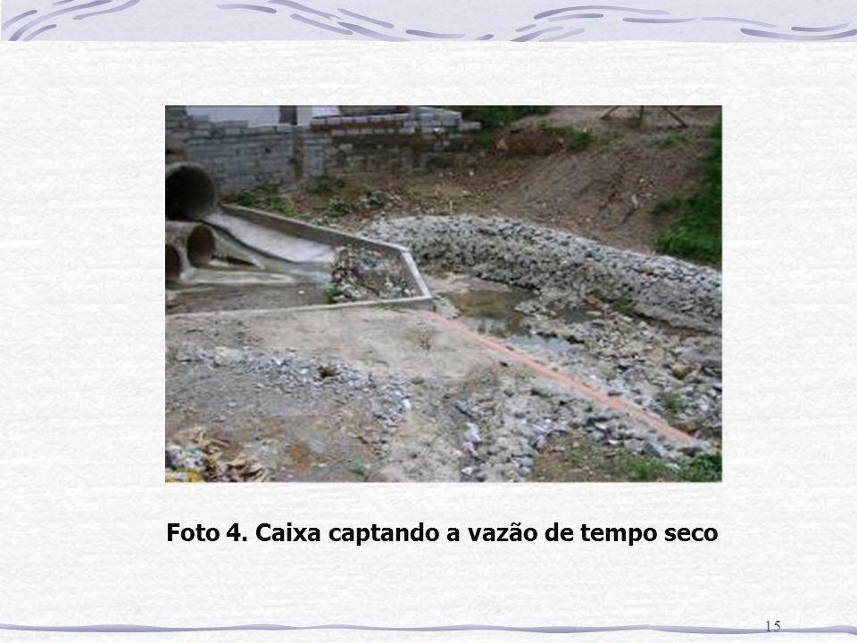Foto 4. Caixa captando a vazão de tempo seco
