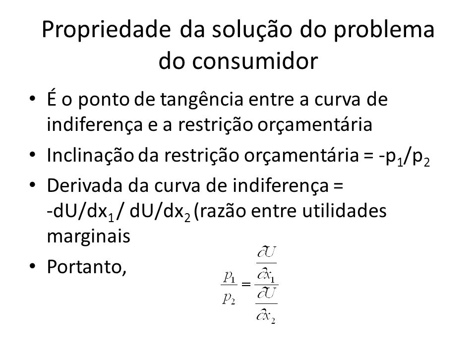 Propriedade da solução do problema do consumidor