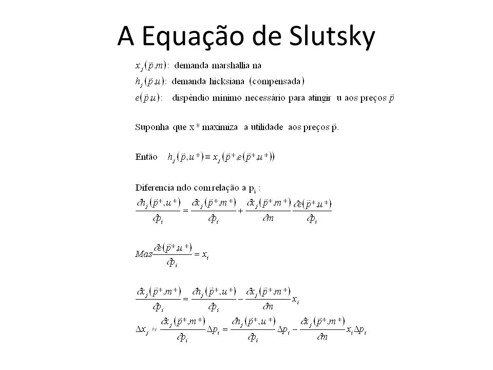A Equação de Slutsky