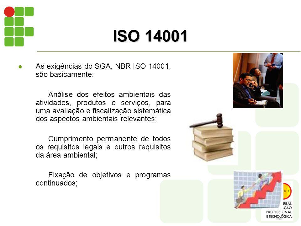 ISO 14001 As exigências do SGA, NBR ISO 14001, são basicamente: