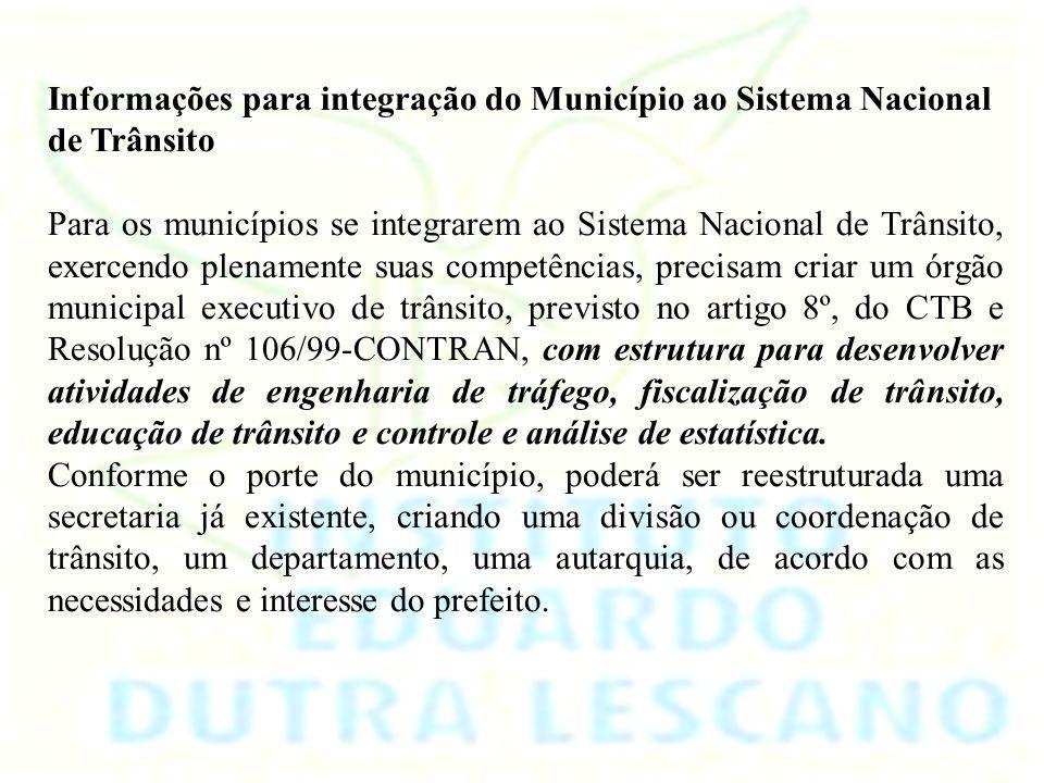 Informações para integração do Município ao Sistema Nacional de Trânsito
