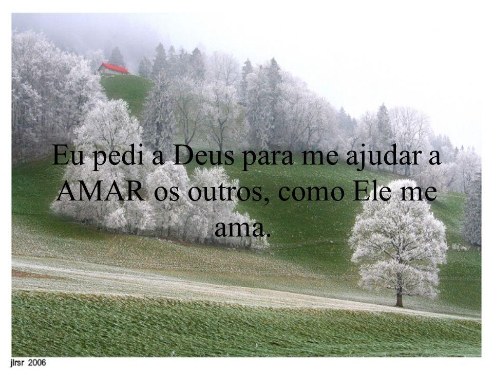 Eu pedi a Deus para me ajudar a AMAR os outros, como Ele me ama.