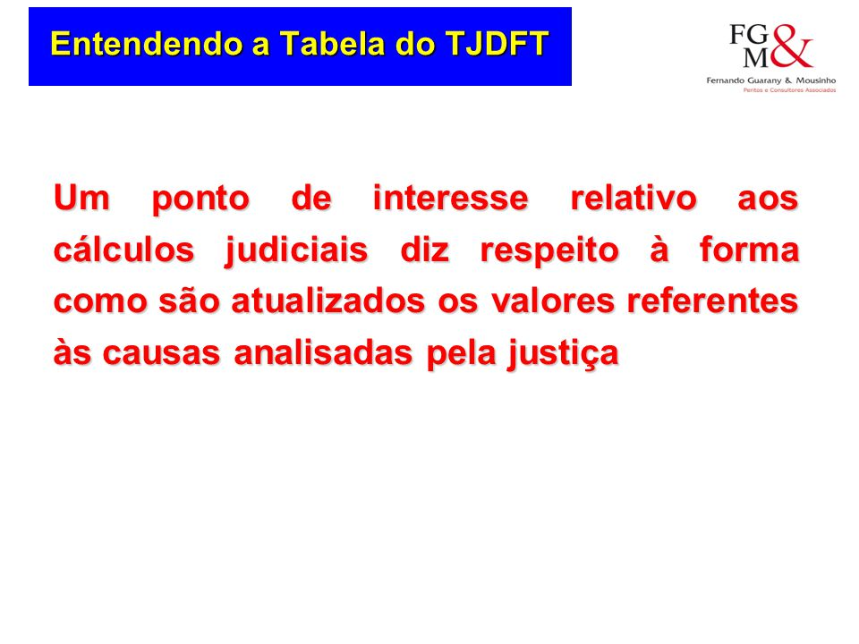 Entendendo a Tabela do TJDFT
