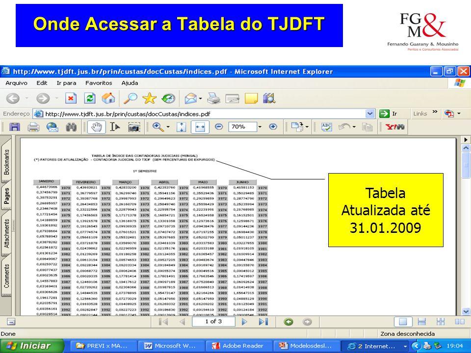 Onde Acessar a Tabela do TJDFT