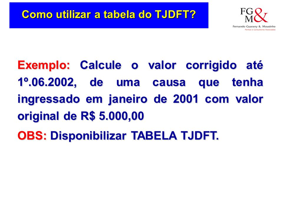 Como utilizar a tabela do TJDFT