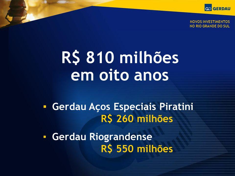 R$ 810 milhões em oito anos Gerdau Aços Especiais Piratini