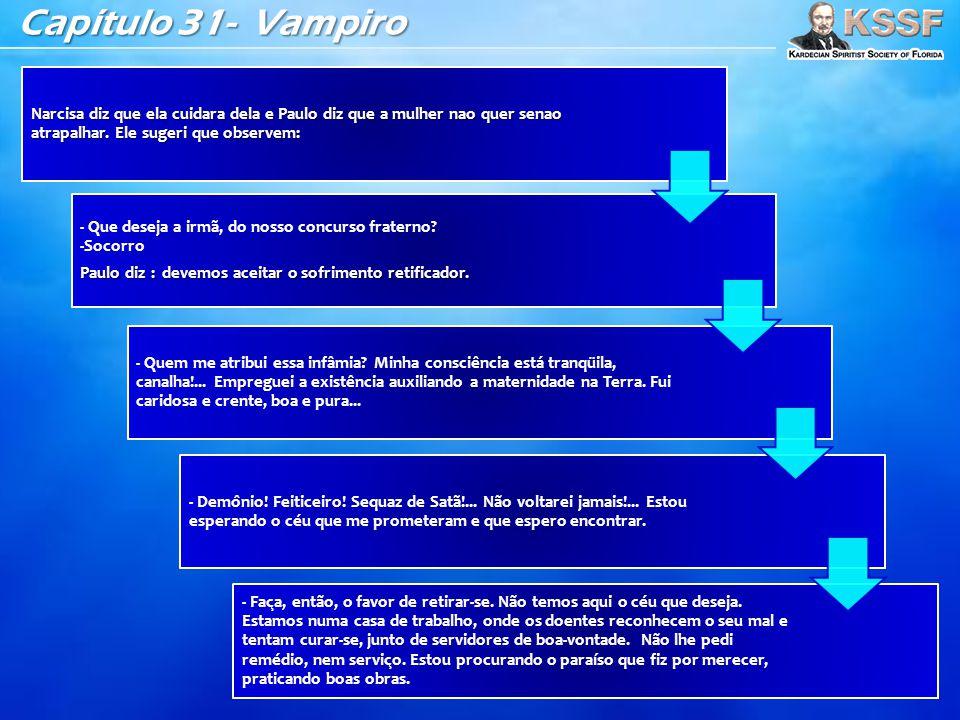 Capítulo 31- Vampiro Narcisa diz que ela cuidara dela e Paulo diz que a mulher nao quer senao atrapalhar. Ele sugeri que observem: