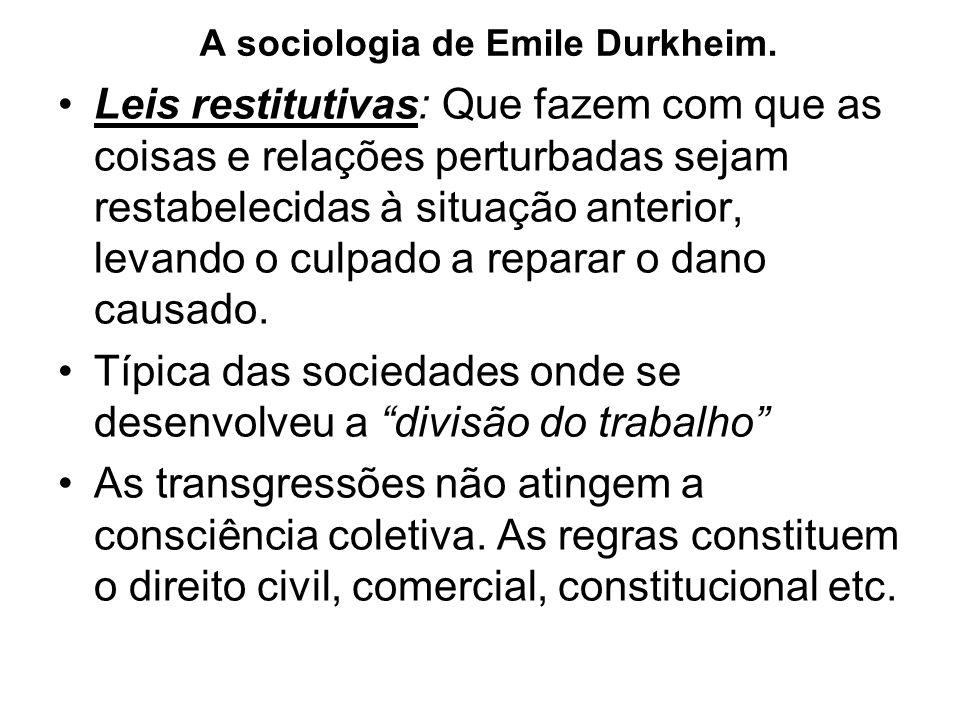 A sociologia de Emile Durkheim.