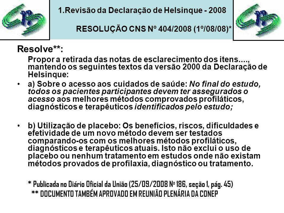 1.Revisão da Declaração de Helsinque - 2008 RESOLUÇÃO CNS Nº 404/2008 (1º/08/08)*