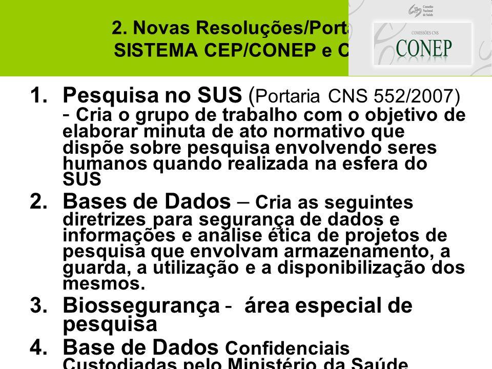 2. Novas Resoluções/Portaria SISTEMA CEP/CONEP e CNS