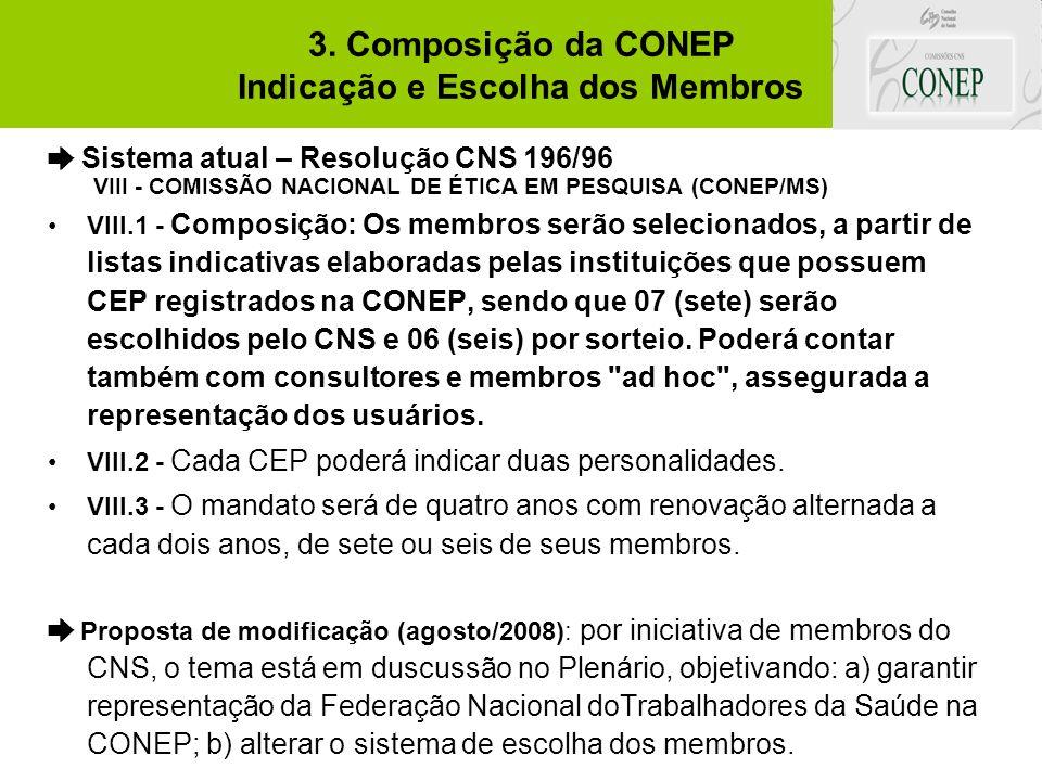 3. Composição da CONEP Indicação e Escolha dos Membros