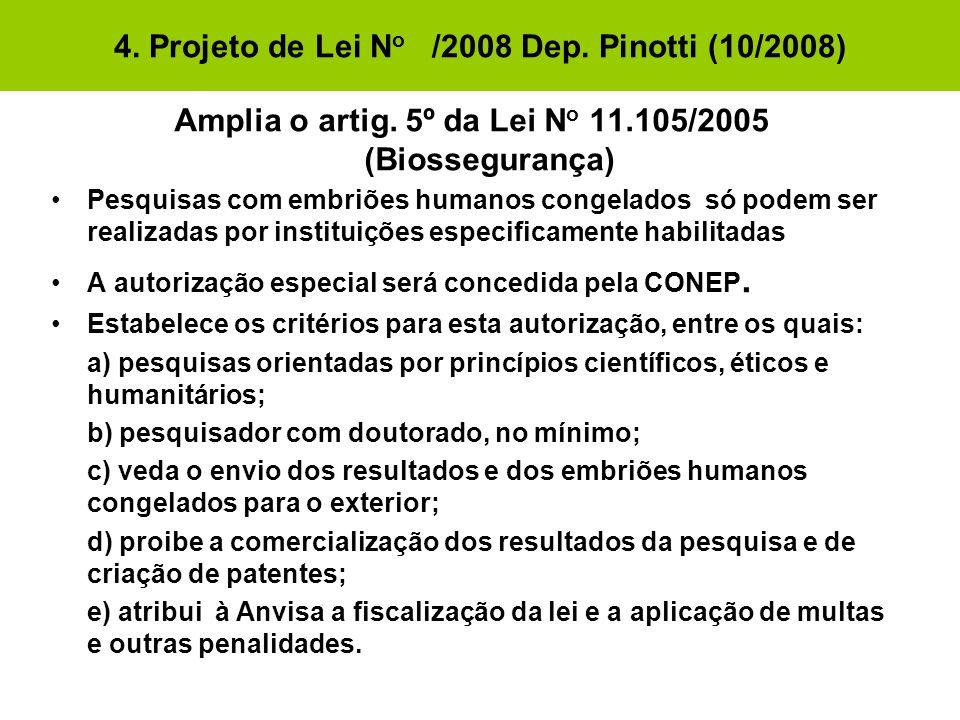 4. Projeto de Lei No /2008 Dep. Pinotti (10/2008)
