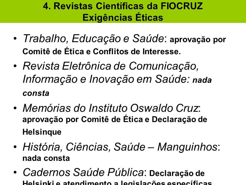 4. Revistas Científicas da FIOCRUZ Exigências Éticas